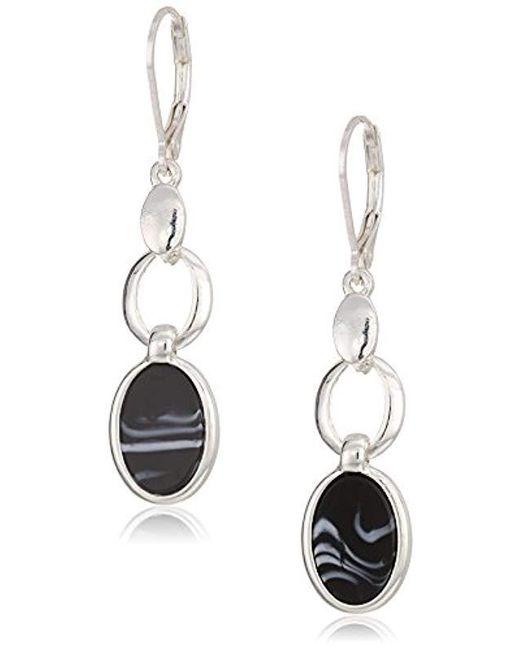 Nine West - Metallic Silver-tone And Jet Dbl Drop Earrings, Size 0 - Lyst
