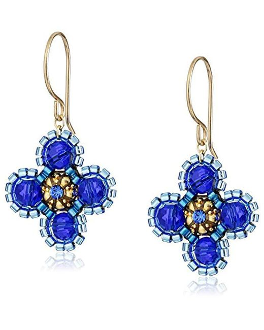 Miguel Ases - Small Deep Blue Flower Earrings - Lyst