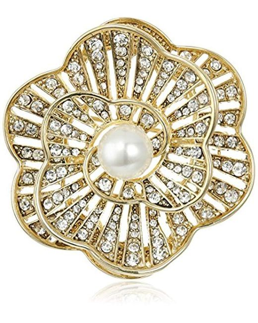 Napier - Metallic Giftables Boxed Gold-tone And Crystal Glass Pearl Brooch - Lyst