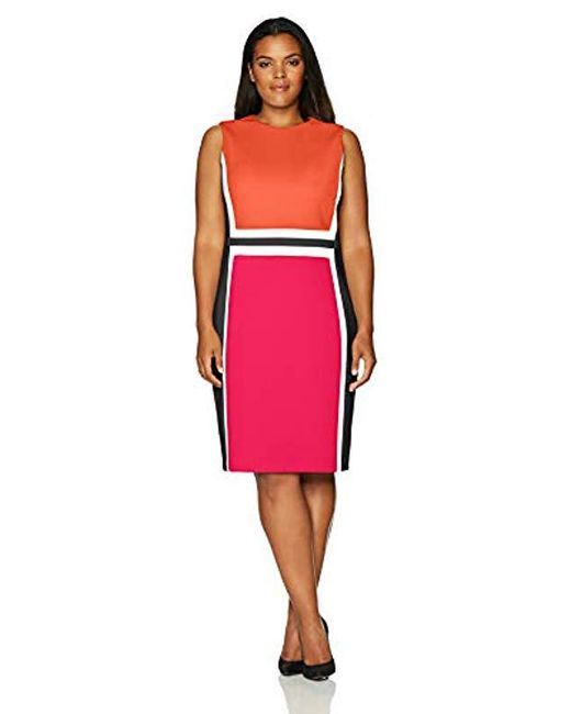 9aa78385f631 Calvin Klein - Red Plus Size Sleeveless Color Block Sheath Dress - Lyst ...