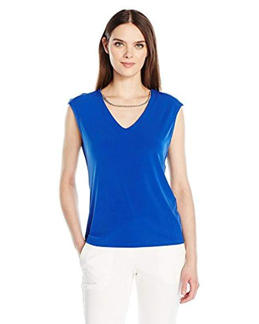 Calvin Klein - Blue Sleeveless Top With Chain Necklace - Lyst