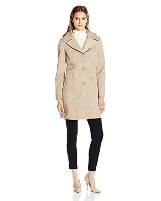 "Anne Klein - Natural 34"" Mid Length A-line Single Breasted Raincoat - Lyst"