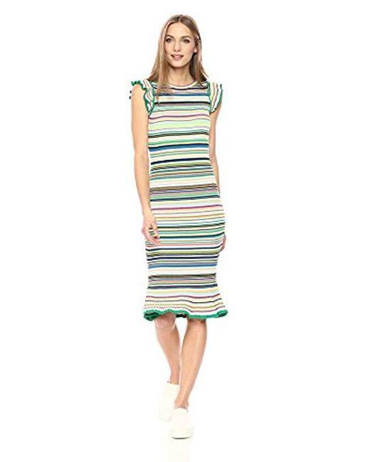 MILLY - Green Micro Stripe Mini Mermaid Dress - Lyst