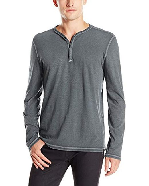 John Varvatos - Gray Snap Front Henley Shirt for Men - Lyst