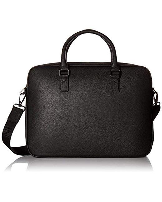 Armani Exchange - Black Rmni Exchnge Sfino Embossed Pu Lptop Briefcse for Men - Lyst