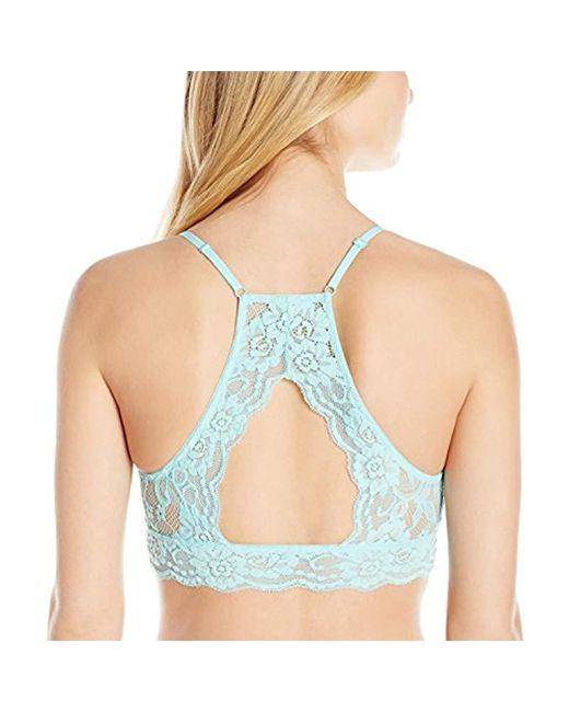 57c2bec688 ... Mae - Blue Hi-neck Lace Bralette (for A-c Cups) - Lyst ...