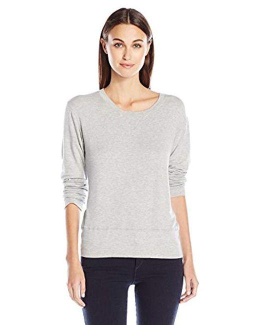 Monrow - Gray Super Soft Crew Neck Sweatshirt Poly - Lyst
