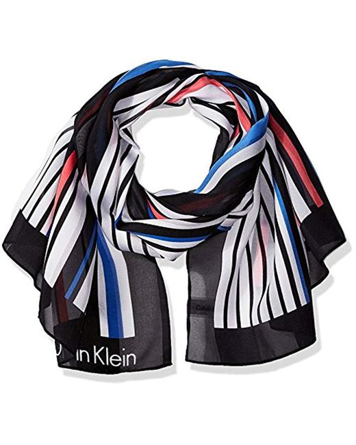 Calvin Klein - Blue Print On Texture Scarf - Lyst