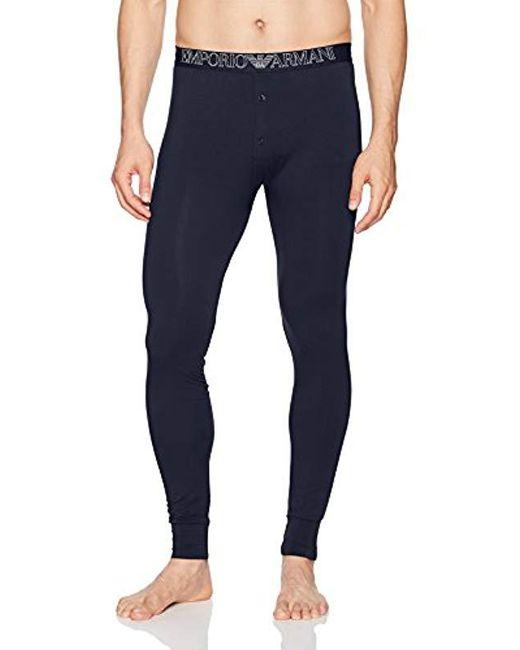 Emporio Armani - Blue Soft Modal Leggings for Men - Lyst