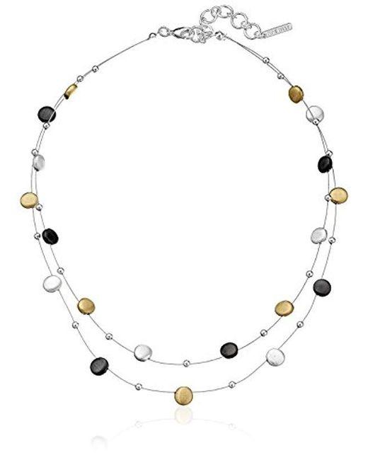 "Nine West - Multicolor ""classics"" Tri-tone Double Row Adjustable Illusion Necklace, 16"" + 2"" Extender - Lyst"