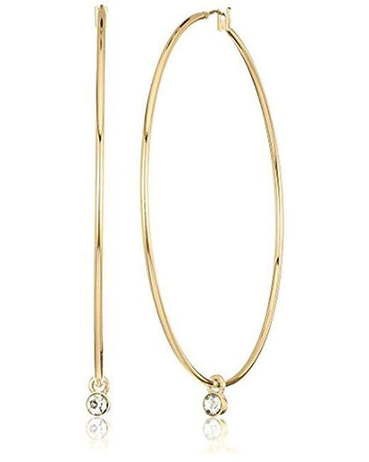 Kenneth Cole - Metallic S Large Trinity Rings Crystal Charm Hoop Earrings - Lyst