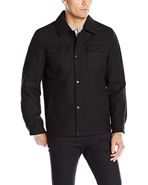 Nautica - Black Wool Melton Snap Front Jacket for Men - Lyst