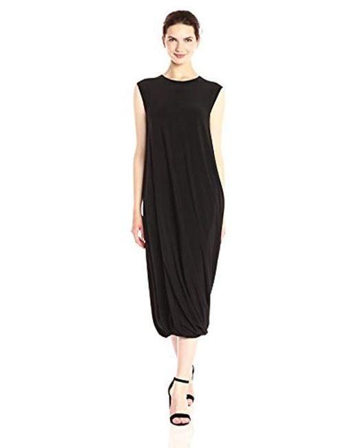 Lyst Norma Kamali Sleeveless Twist Midcalf Dress In Black