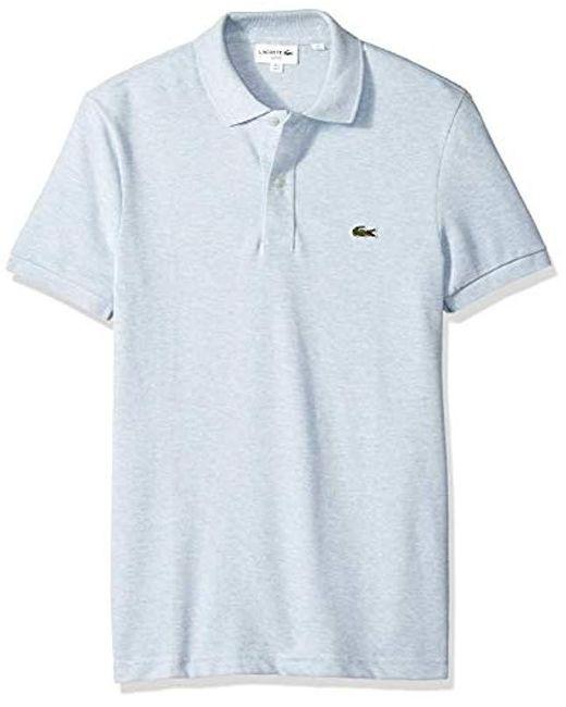 d67326fa1 Lacoste. Men s Blue Classic Pique Slim Fit Short Sleeve Polo Shirt ...