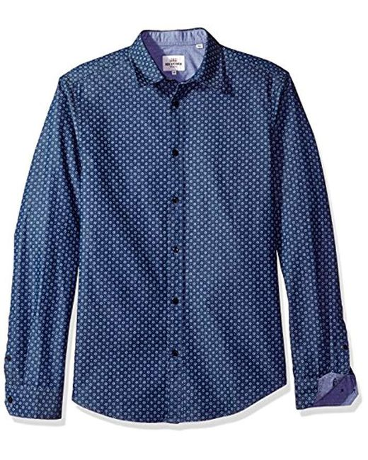 Ben Sherman - Blue Ls Chambray Spot Print for Men - Lyst