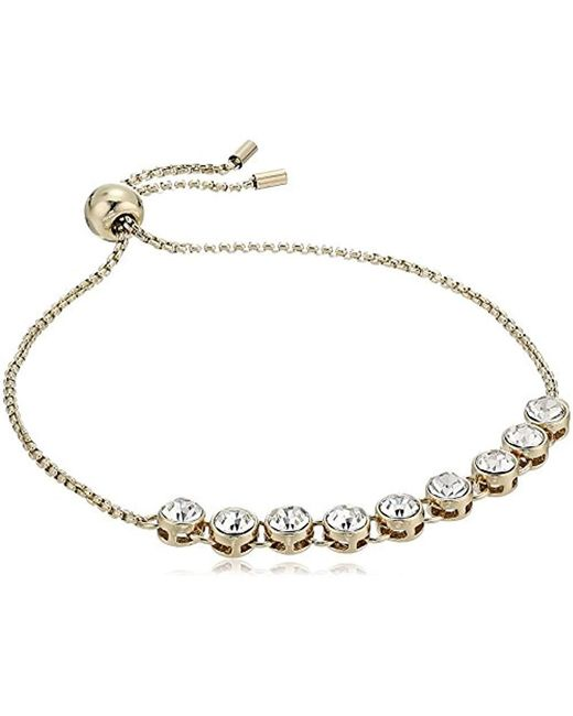 Kenneth Cole - Metallic Delicates Collection Gold And Crystal Slider Bracelet - Lyst