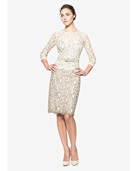 b891fb993c1 Tadashi Shoji - Multicolor Two-tone Lace Dress With Three-quarter Sleeves  And Belt ...