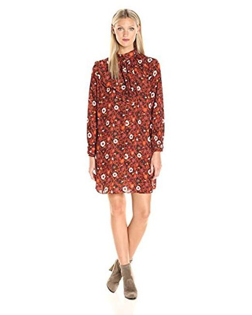Nanette Nanette Lepore - Red L/s Printed Dress With Cascade Front - Lyst