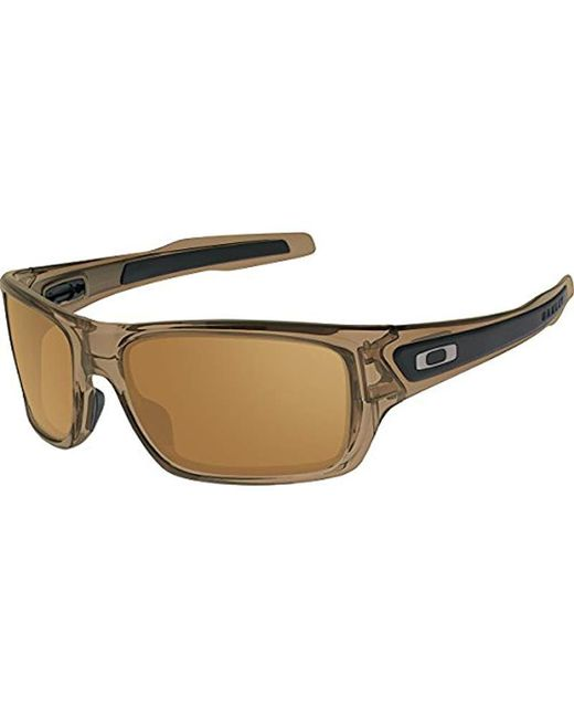 649425a06fb Lyst - Oakley Turbine Oo9263 Rectangular Sunglasses in Brown