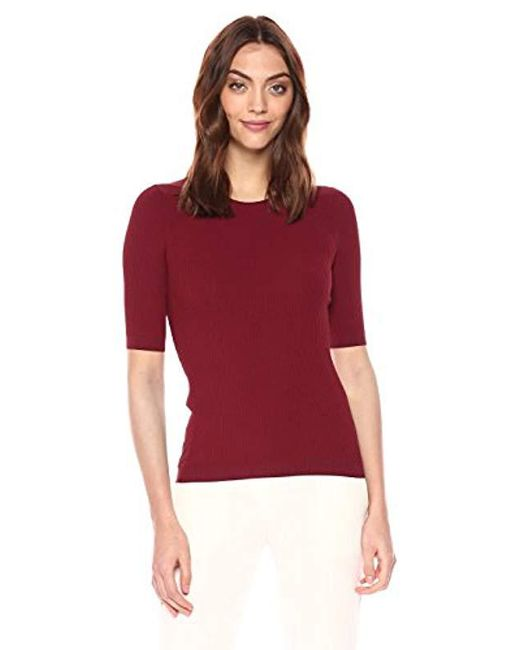 Theory - Red Short Sleeve Tech Rib Crewneck Sweater - Lyst