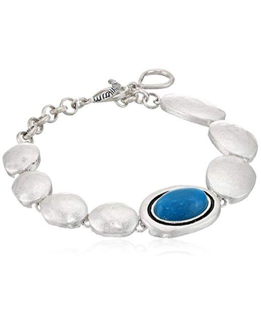 The Sak - Multicolor Oval Stone Line Bracelet, Color Teal - Lyst