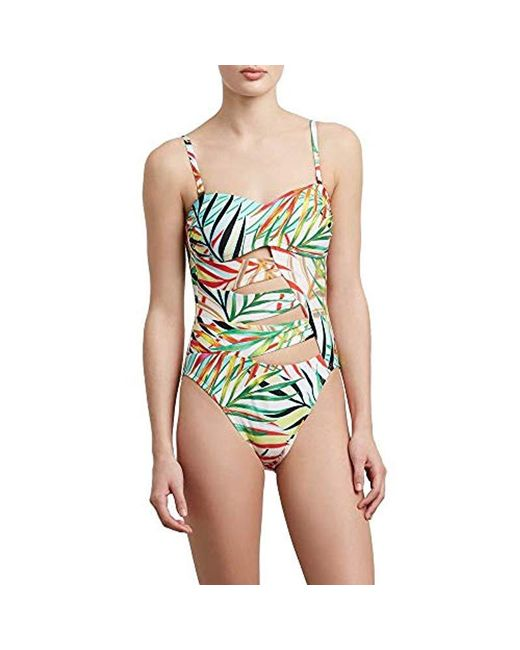 Kenneth Cole - Green Bandeau One Piece Swimsuit - Lyst