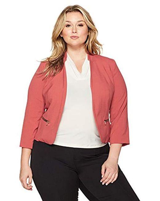 Nine West - Red Plus Size Kiss Front Bi Stretch Jacket With Zip Pockets - Lyst