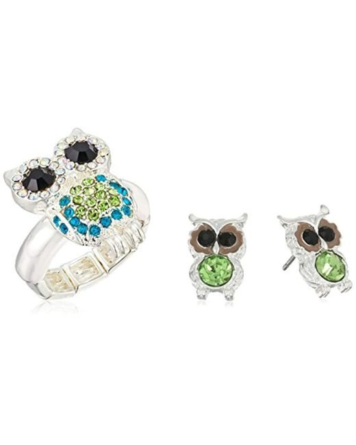Betsey Johnson - Green Pave Owl Stretch Ring And Stud Earrings Jewelry Set - Lyst