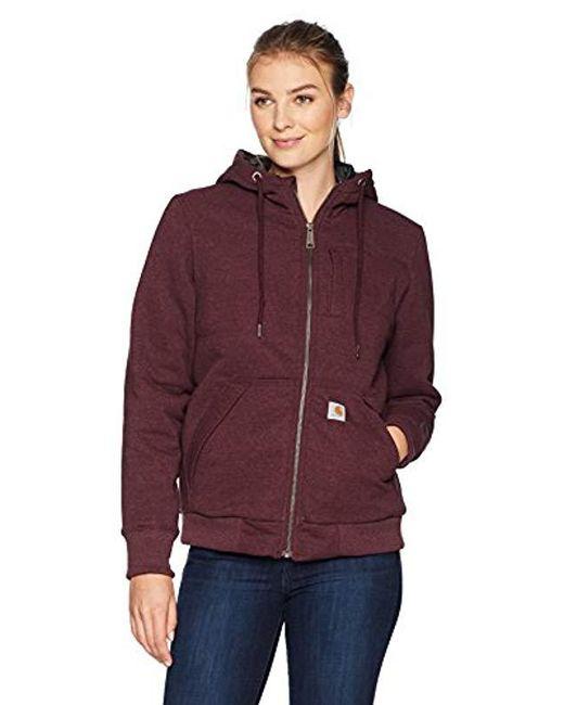 Carhartt - Red Rain Defender Rockland Quilt Lined Zip Hooded Sweatshirt - Lyst