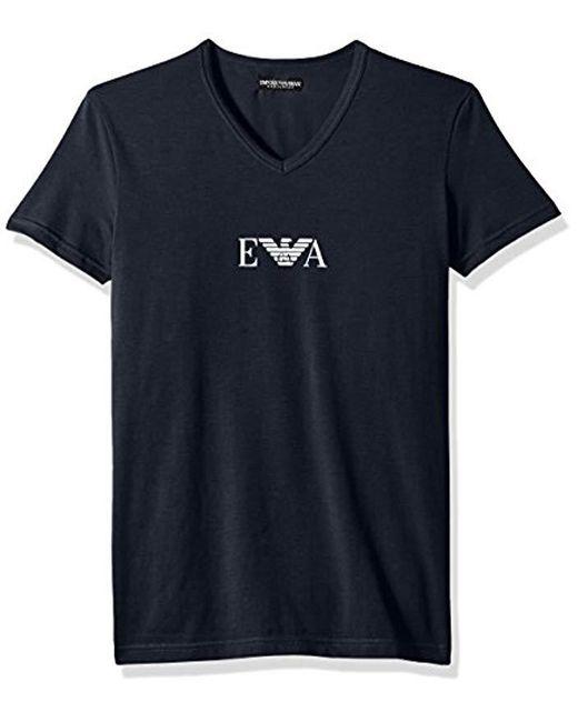 Emporio Armani - Blue Stretch Cotton Multipack Vneck T-shirt for Men - Lyst