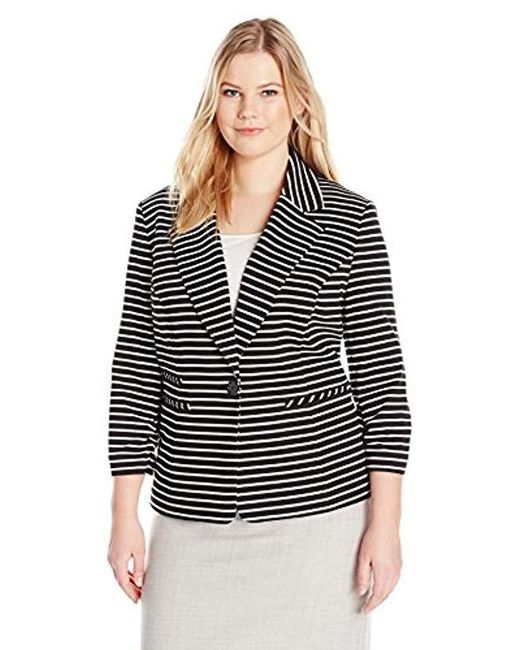 Nine West - Black Plus Size 1 Button Striped Notch Collar Jacket - Lyst