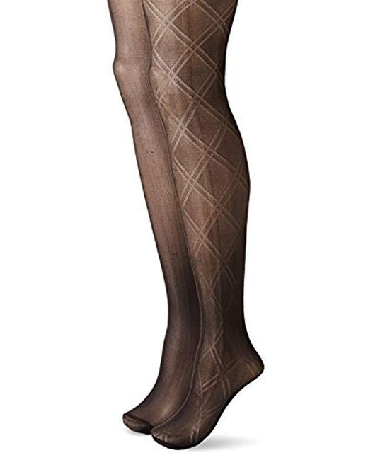 Betsey Johnson - Fashion Tights In Double Diamond Pattern And Solid Black - Lyst