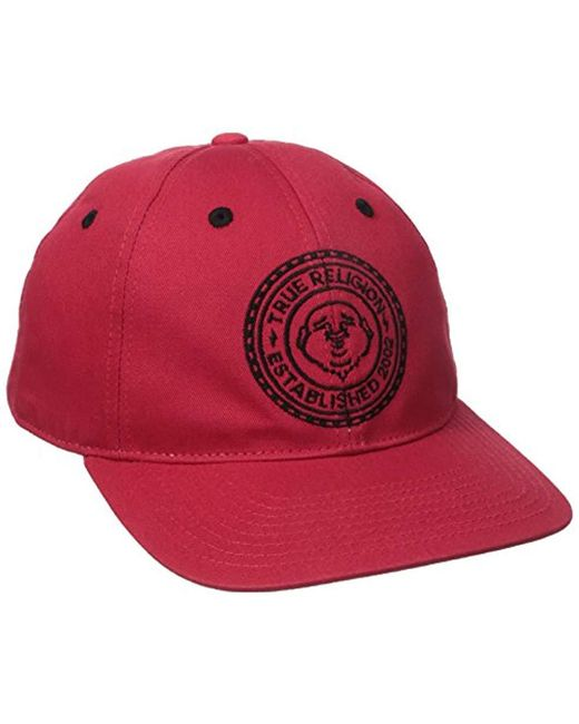 Lyst - True Religion Buddha Seal Flat Brim Cap in Red for Men - Save 22% 250a1a421ebb
