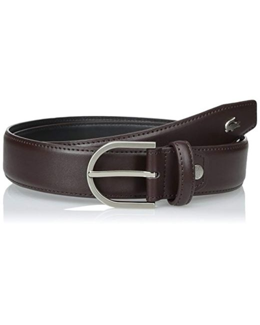 634e99b2f606ae Lacoste - Brown Premium Smooth Leather Belt With Metal Croc for Men - Lyst