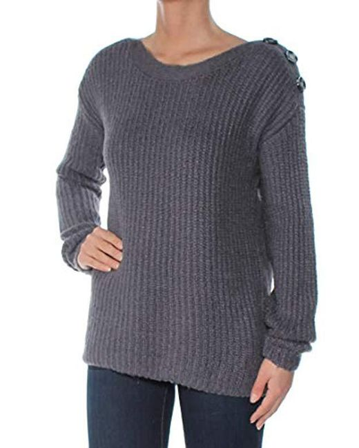 Kensie - Gray Punk Yarn Sweater With Button Detail - Lyst
