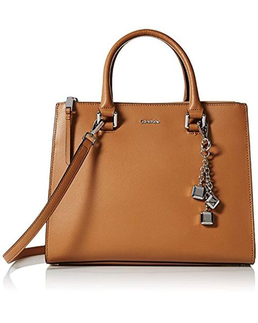 Calvin Klein - Brown Logan Mercury Leather Satchel - Lyst