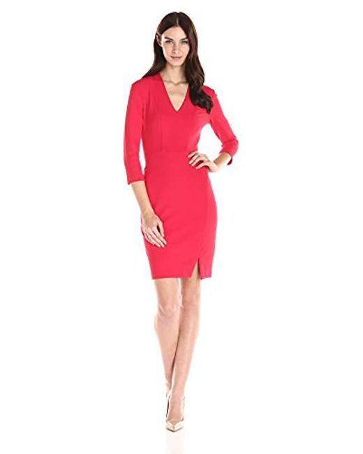NYDJ - Red Elsie Stretch Crepe Fitted Sheath Dress With Slimming Fit Solution - Lyst