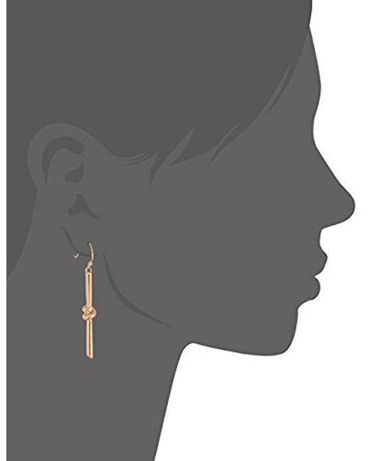 Kenneth Cole - Metallic S Rose Gold Knot Stick Drop Earrings, One Size - Lyst