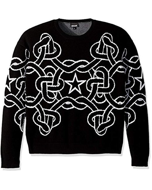 Just Cavalli - Black Chain Link Sweatshirt for Men - Lyst