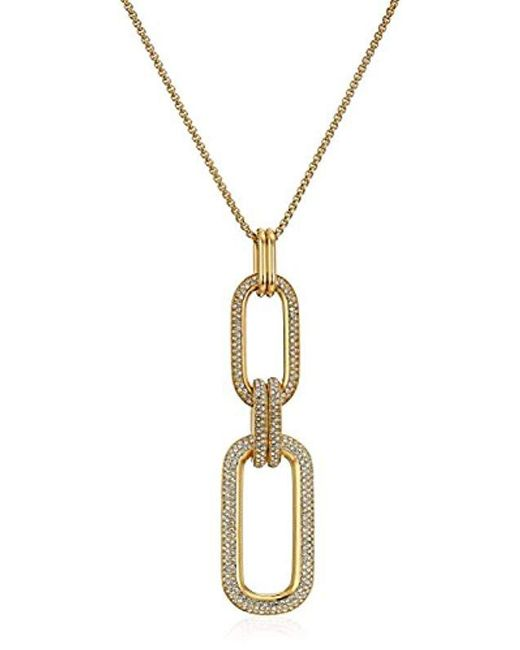 "Michael Kors - Metallic ""brilliance"" Iconic Links Ip Statement Long Pendant Necklace - Lyst"