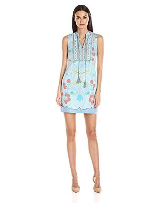 Plenty by Tracy Reese - Blue Lace Inset Shift Dress, - Lyst