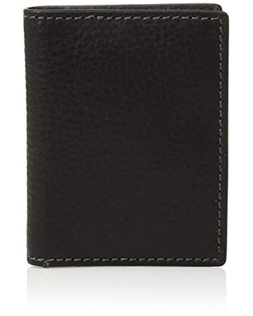 Fossil - Black Leather Rfid Blocking Card Case Bifold Wallet for Men - Lyst