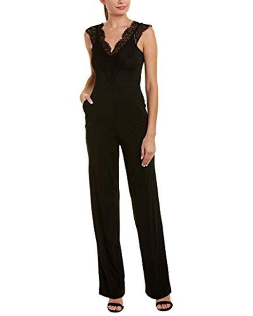 6dbcf727ac6d French Connection - Black Lace And Sheer Fitted Straight Leg Jumpsuit -  Lyst ...