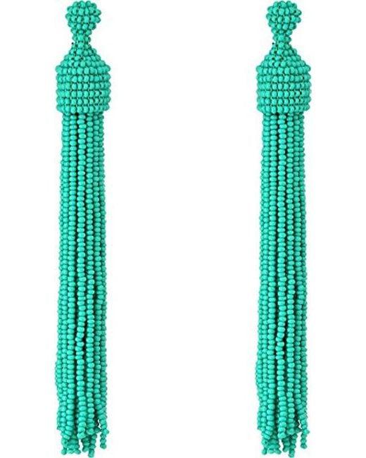 Kenneth Jay Lane - Multicolor S Turquoise Seed Bead Tassel Post Ear Earrings - Lyst