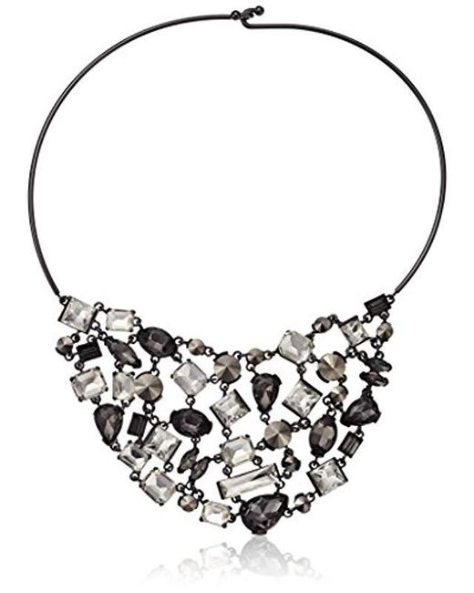 "Kenneth Cole - ""stone Cluster Metallic Mixed Metallic Faceted Stone Bib Wire Collar Necklace - Lyst"