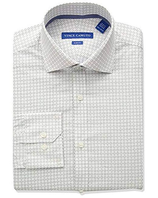 Vince Camuto Blue Slim Fit Performance Navy Geo Print Dress Shirt for men
