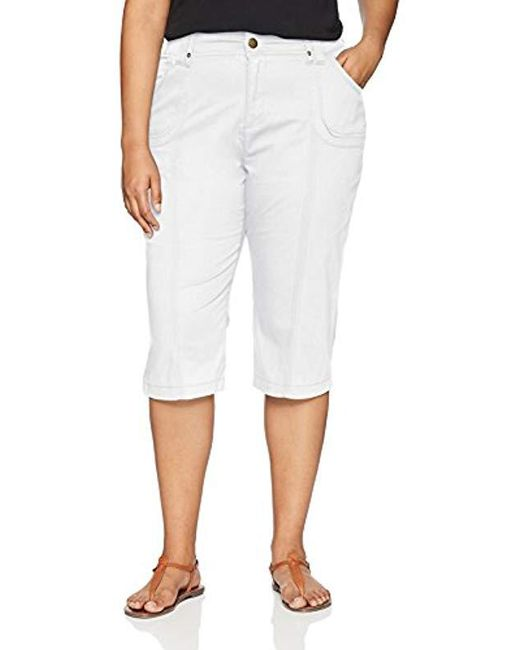 Lee Jeans - White Plus-size Relaxed Fit Lyric Knit Waist Cargo Capri Pant, - Lyst