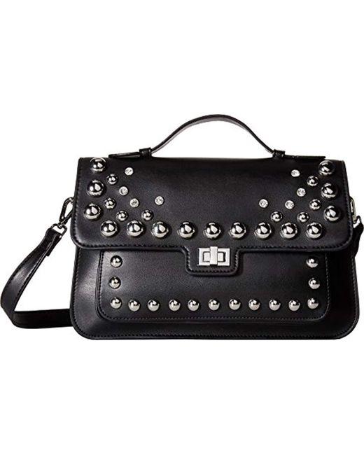 Steve Madden Black Mary Nonleather Frontflap Silver Studded Satchel Handbag Lyst
