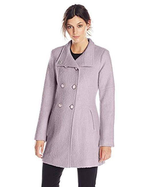 Jessica Simpson - Purple Double-breasted Boucle Coat - Lyst