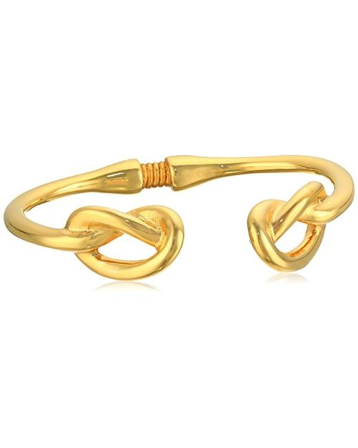Kenneth Jay Lane - Metallic Polished Gold Knot Ends Bracelet - Lyst